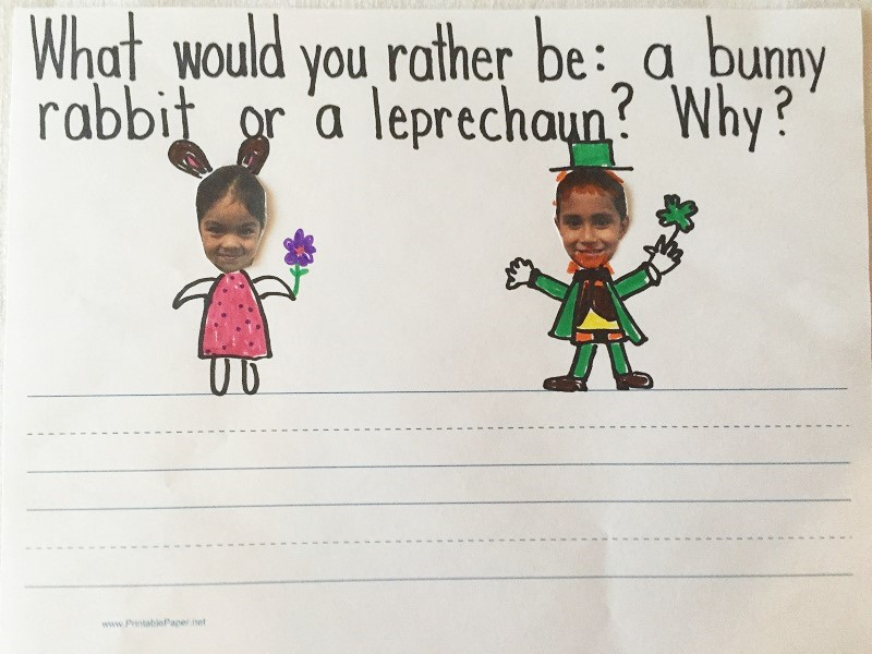 St. Patrick's Day Leprechaun and Easter Bunny Writing Activity