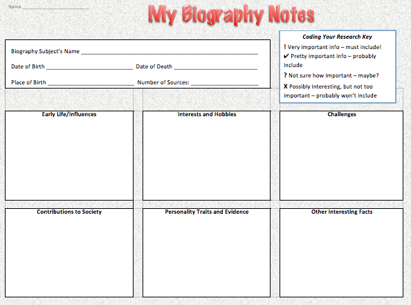 biography activity worksheet