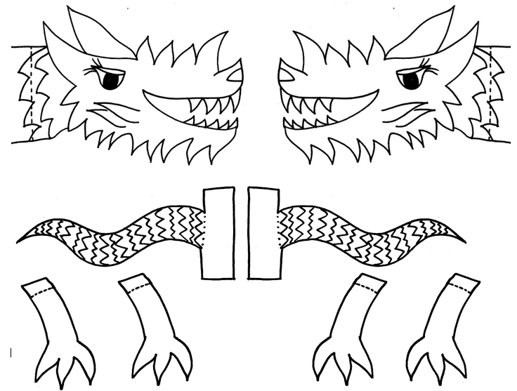 download the dancing dragon body parts template to make the puppet pictured above chinese lunar new year