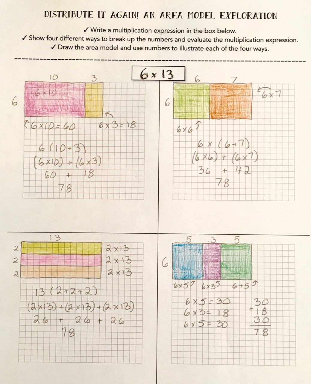 Teaching multiplication with the distributive property scholastic download my distribute it again area model exploration falaconquin