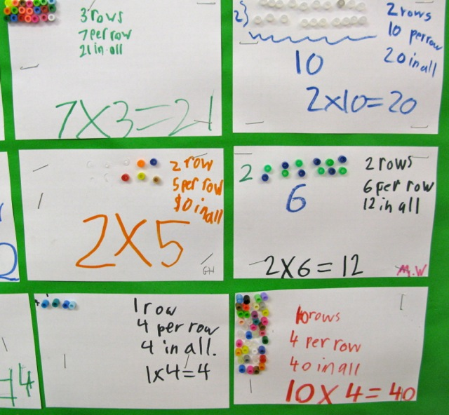 A Multiplication Display With Arrays Made Beads