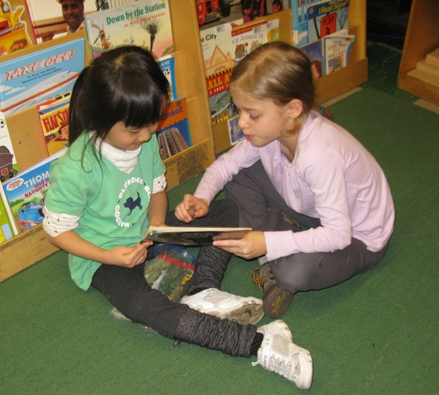 Reading with out kindergarten buddies.