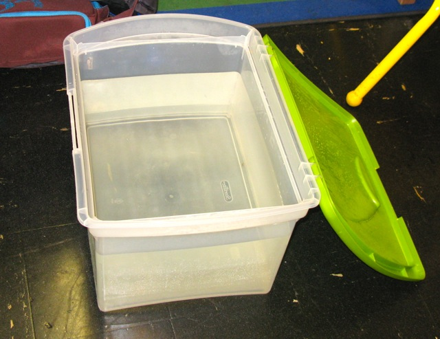 Our test tank is really a bin filled with water.