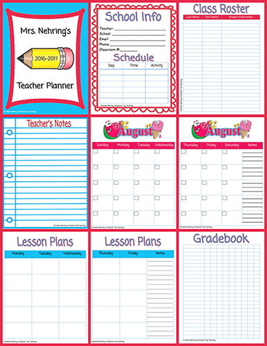 Printable teacher planner scholastic blue and red planner pages pronofoot35fo Gallery