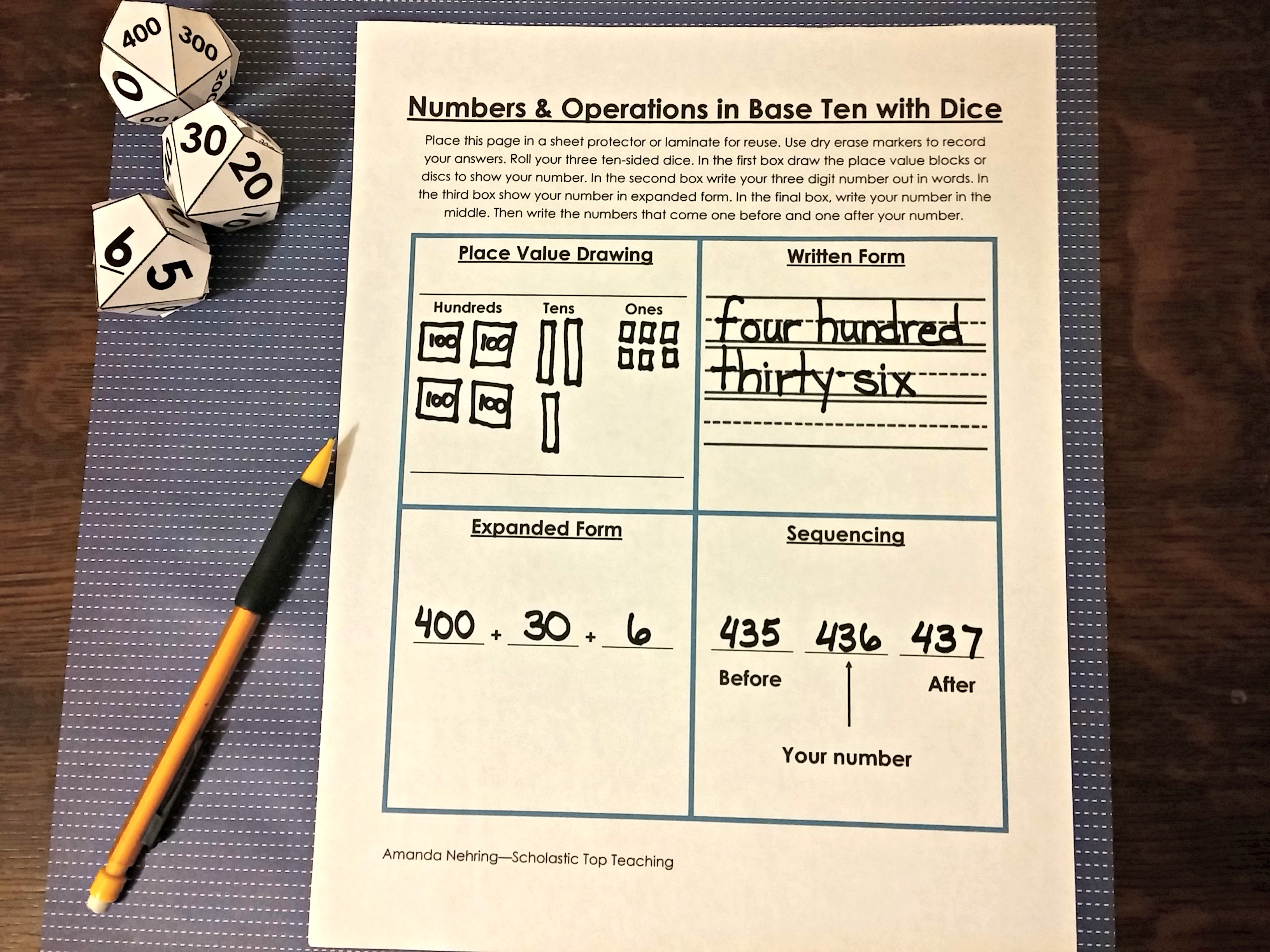 Numbers & Operations in Base Ten Dice Game