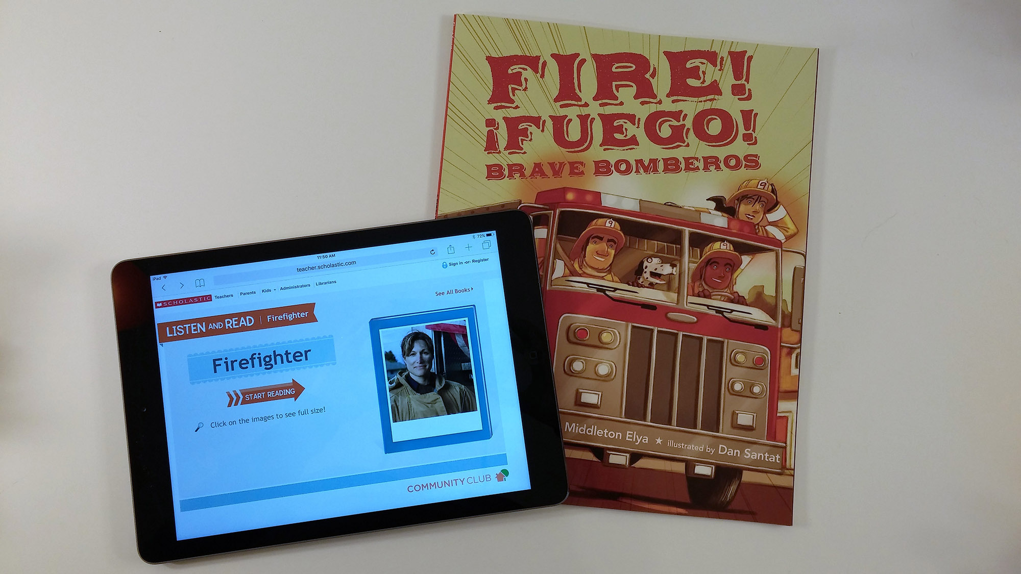 "Read Scholastic's Community Club ""Meet a Firefighter"" as a follow-up to the book Fire! Fuego! Brave Bomberos"