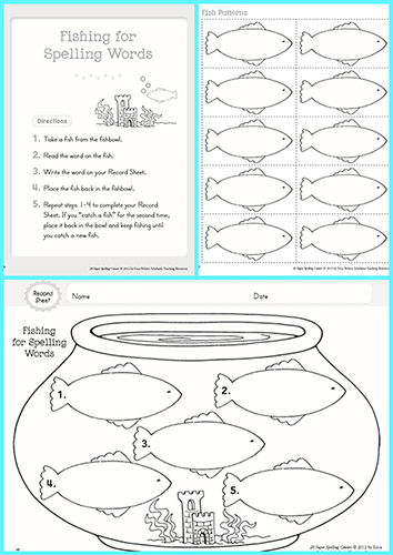Fishing for Spelling Words Printable