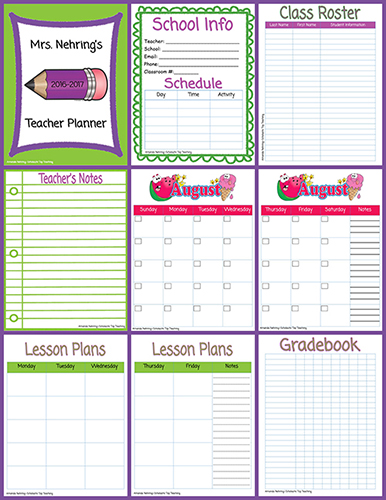 photograph regarding Printable Gradebook Template Editable named Printable Trainer Planner Scholastic