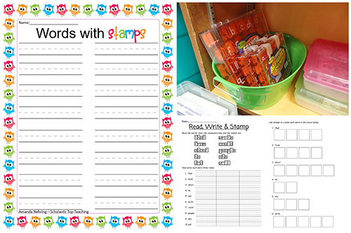 Letter stamps and worksheets