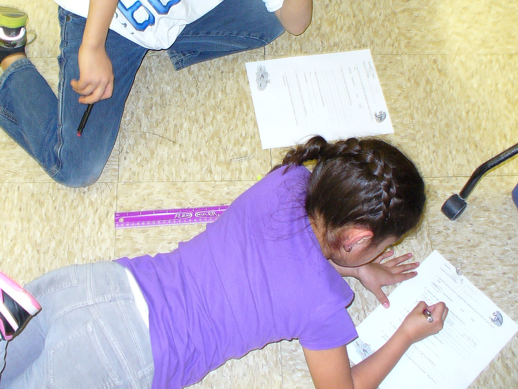 A student recording their measurements.