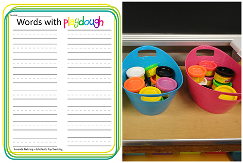 Spell words with playdough and record them on the worksheet.