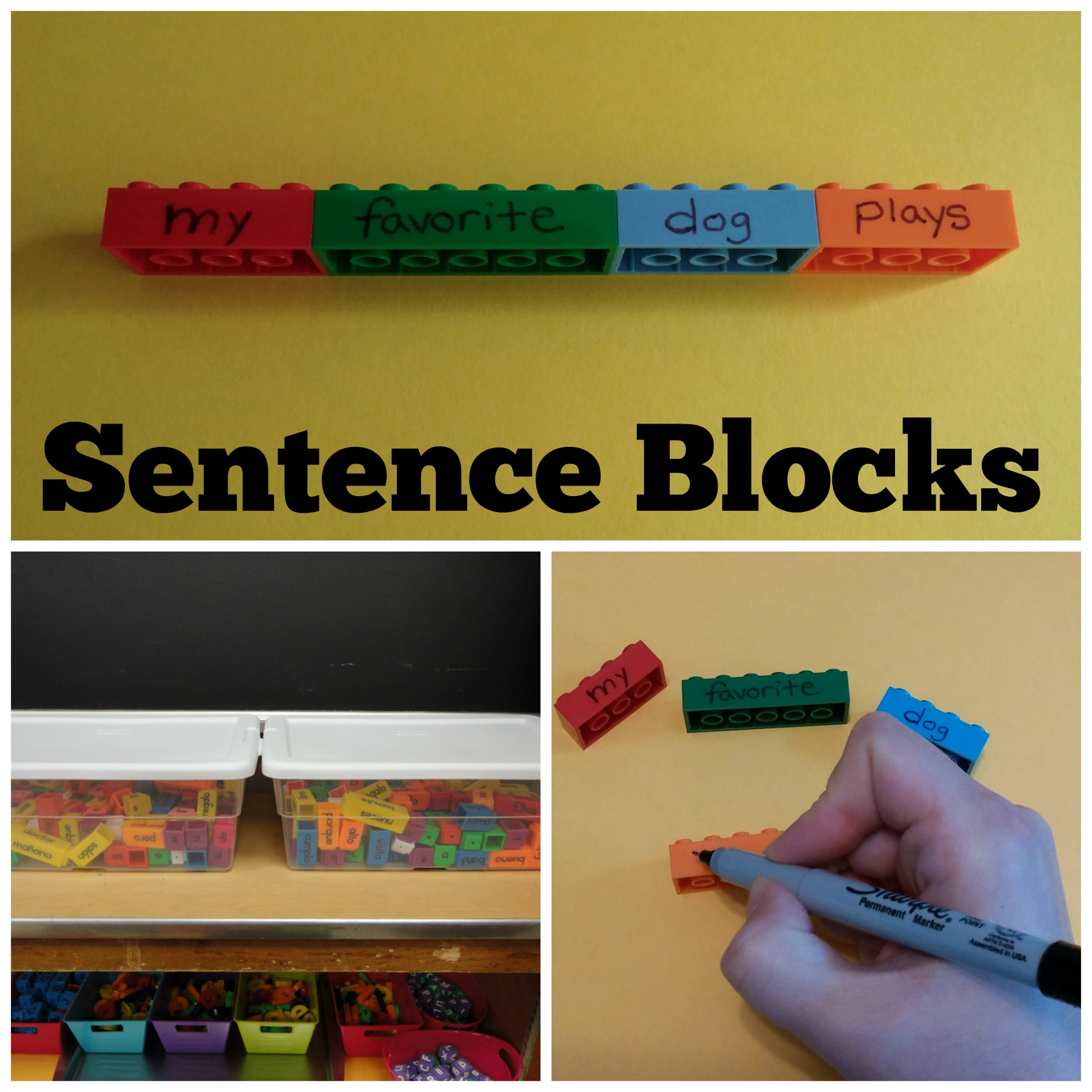 Use blocks to create sentences.