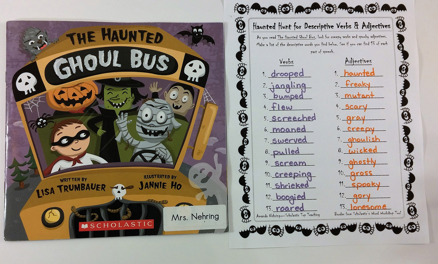 Hunt for descriptive verbs and adjectives in The Haunted Ghoul Bus.