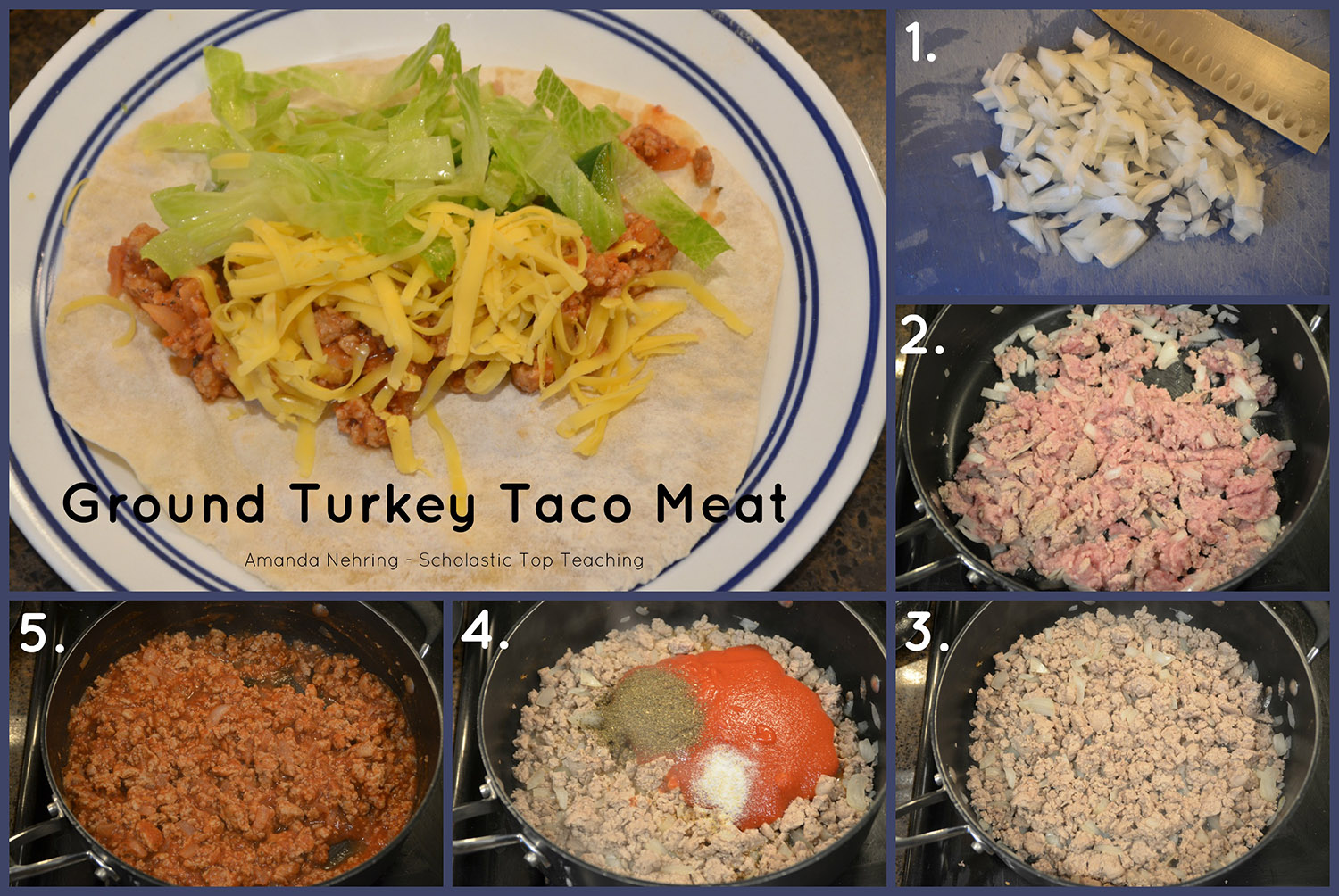 Steps to making ground turkey tacos