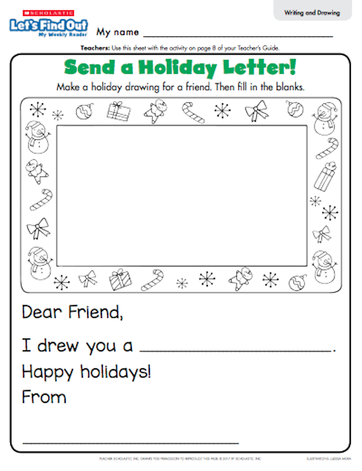 Teaching letter writing skills with santa scholastic the blank on the letter template it is the perfect introduction to the idea of letter writing before you ask your class to write their letter to santa spiritdancerdesigns Images