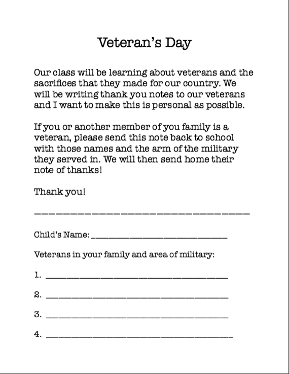 before the lesson starts i first send this note home with my students asking about family members who are veterans we use the information from their