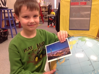 Alex with Taiwan's postcard