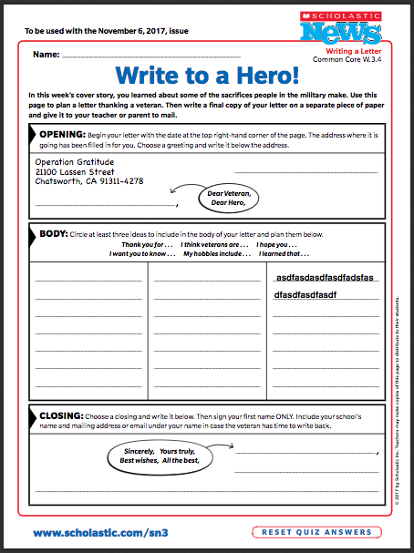 Veterans day writing activity thank a hero scholastic using the sentence stems provided my class outlined heartfelt letters to veterans we also created a word bank using words suggested by my class m4hsunfo