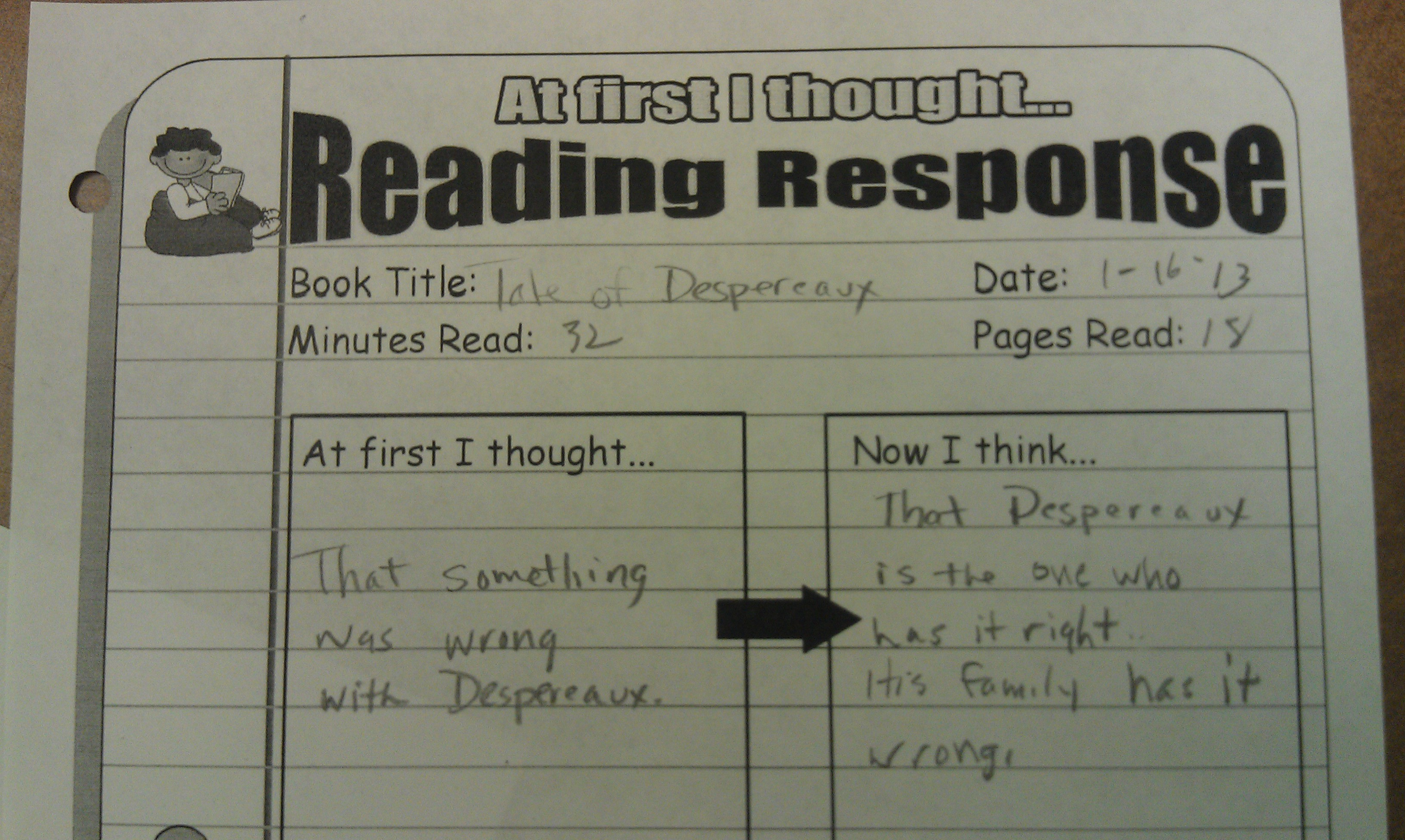 five minute reading responses scholastic at first