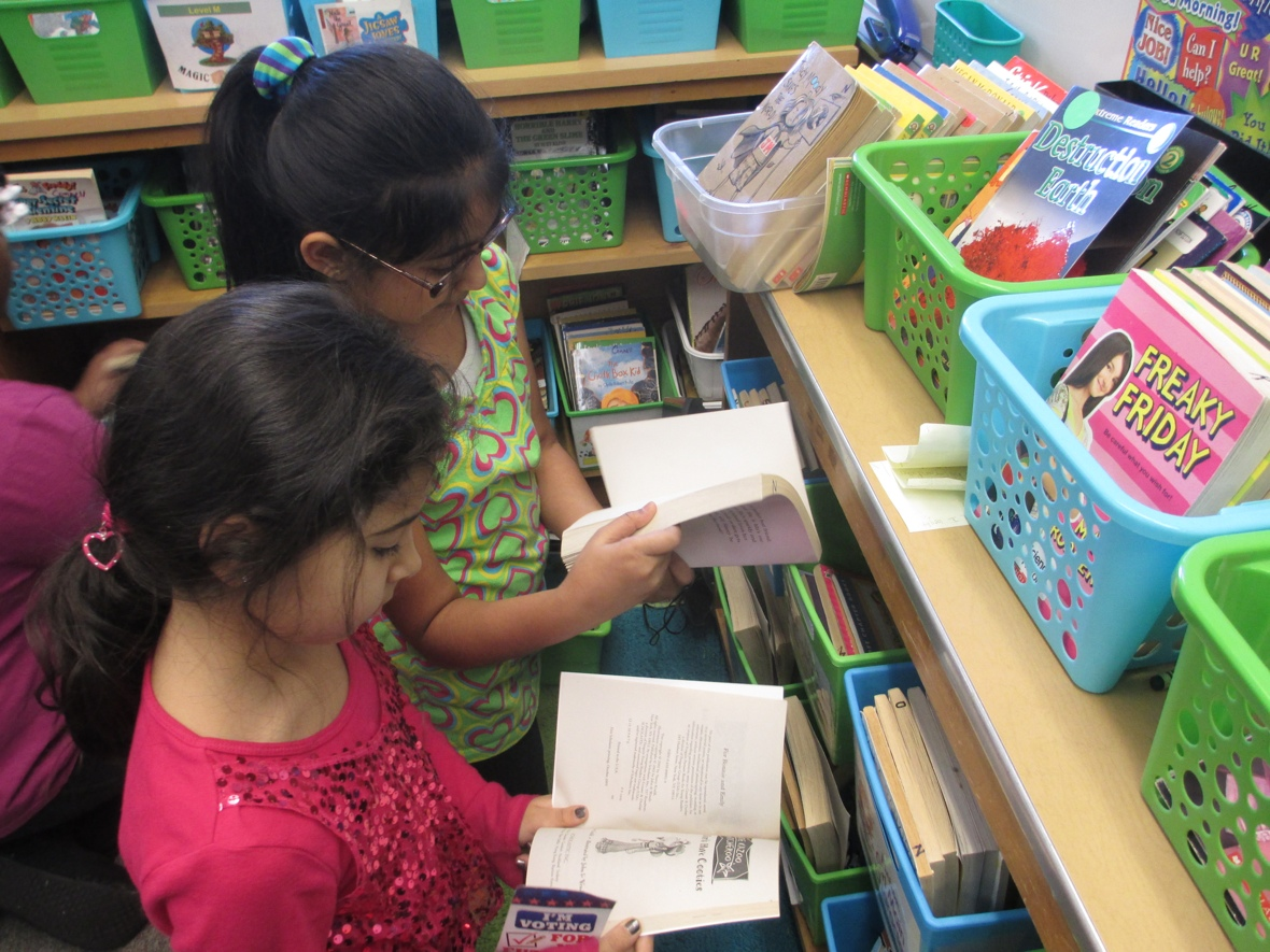 Students are assigned to book baskets to keep library  neat