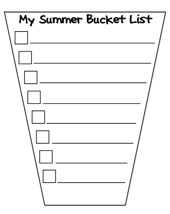 Our summer bucket lists scholastic bucket template for summer bucket lists free printable bucket list maxwellsz