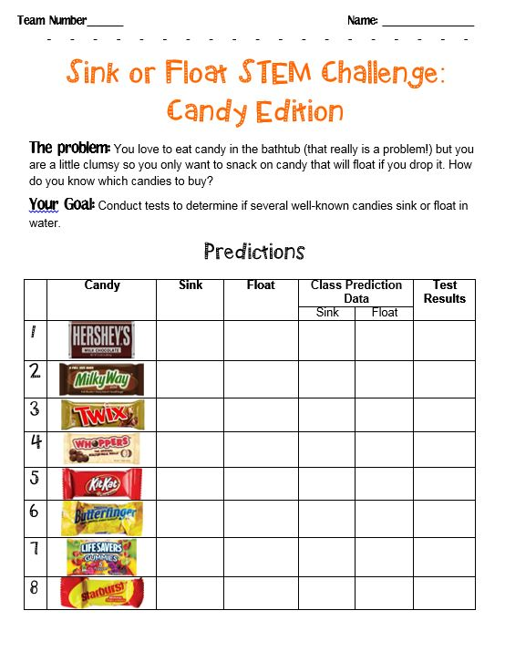 Printables Sink Or Float Worksheet stem challenge sink or float candies scholastic candies