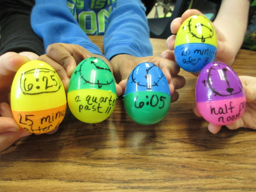 Use plastic eggs to practice time concepts
