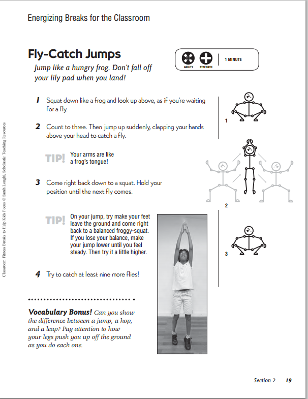 printable set of fitness breaks for the classroom