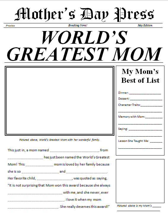 Mother's Day Newspaper free printable