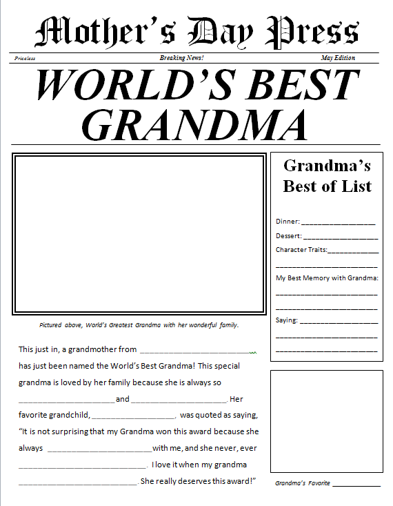 Mother's Day Newspaper for Grandma free printable