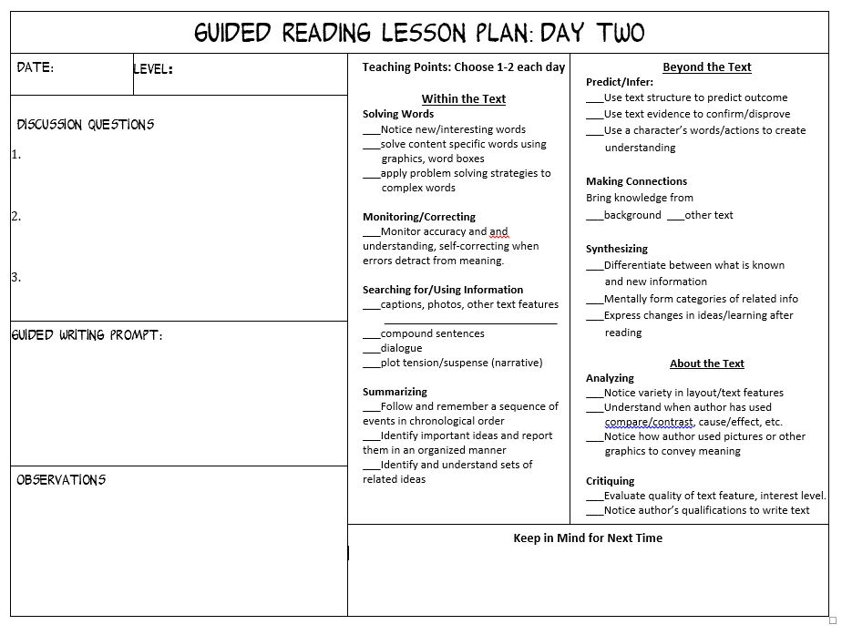 Make Guided Reading Manageable Scholastic - Lesson plan observation template