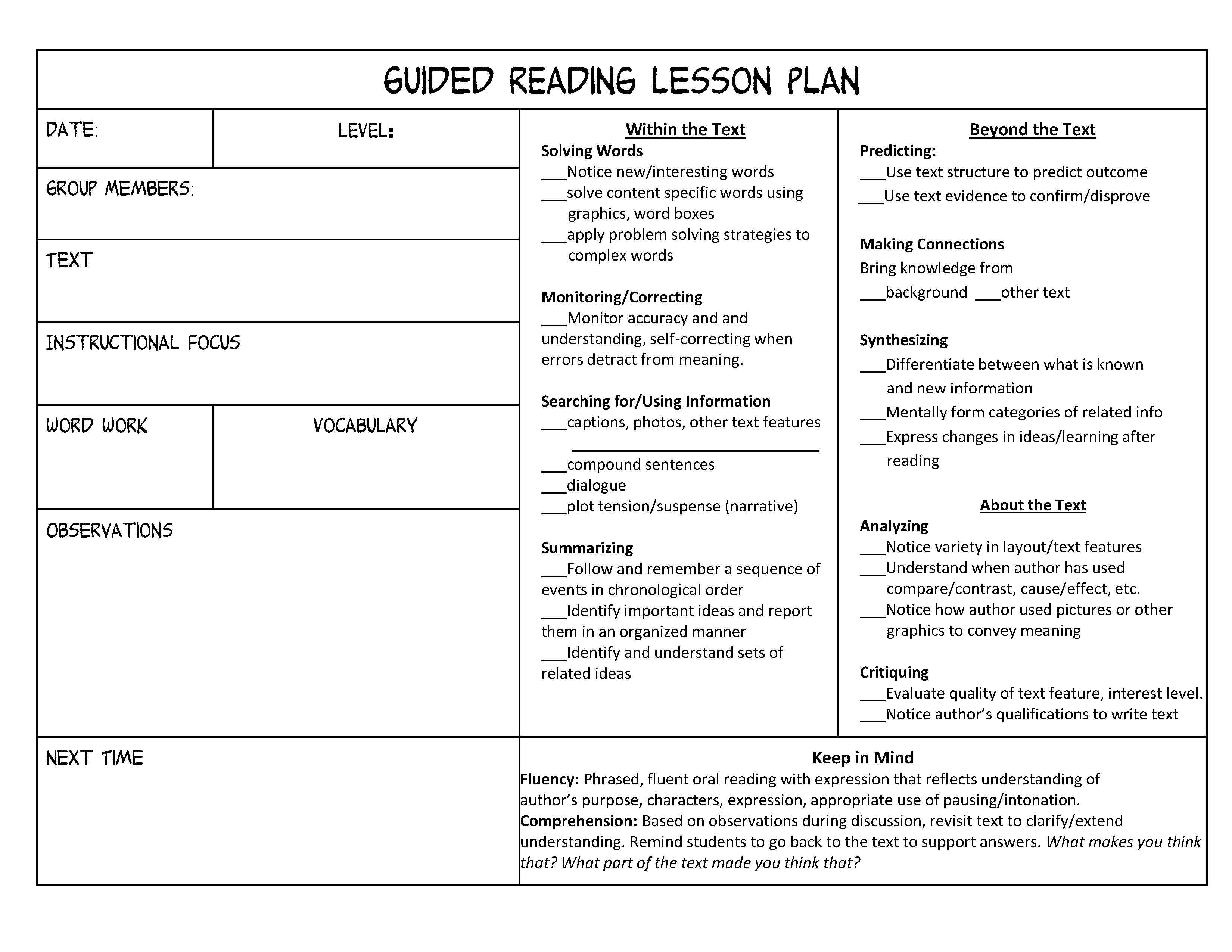 Guided Reading Organization Made Easy Scholastic - Free kindergarten lesson plan template