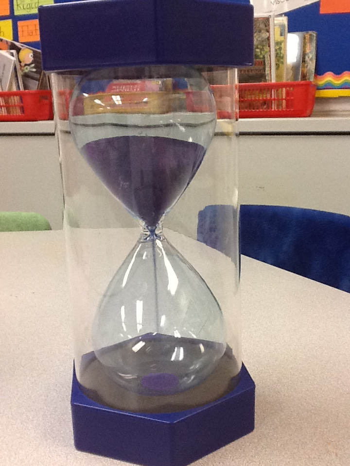 5 minute hourglass, help for your fidgety students