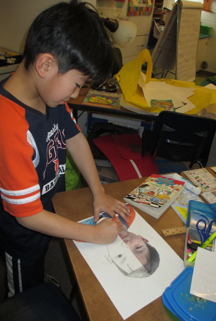 boy coloring symmetry picture