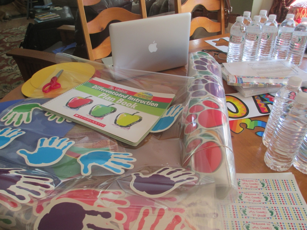 table covered withback to school materials
