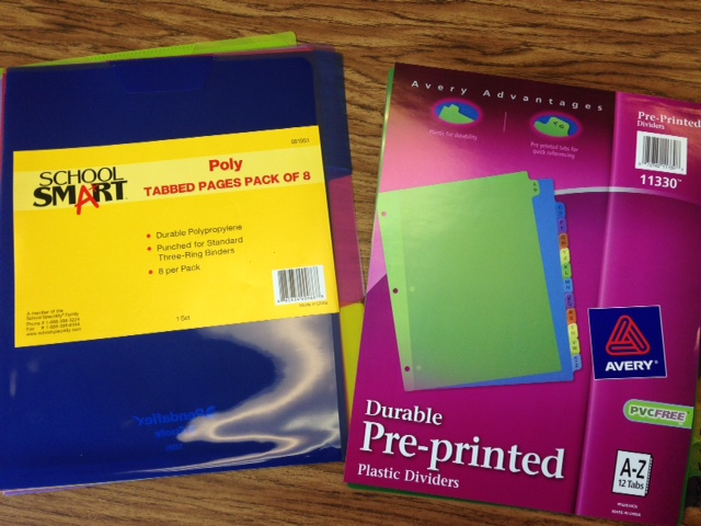 Dividers for ultimate teacher binder