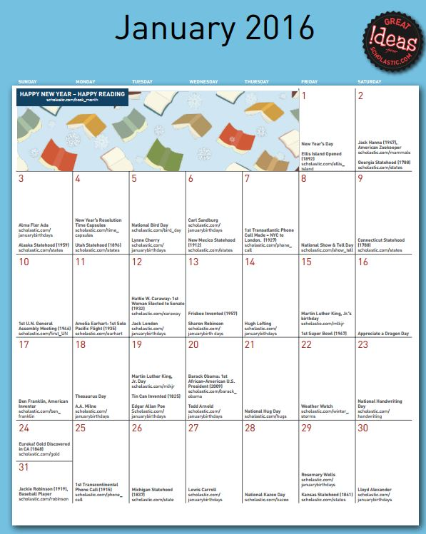 Scholastic's Free Printable Planning Calendar