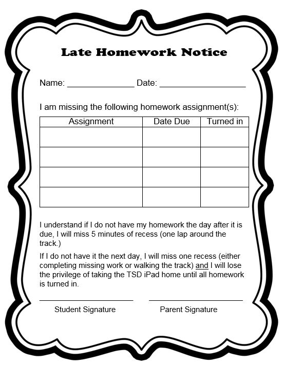 Late homework slip