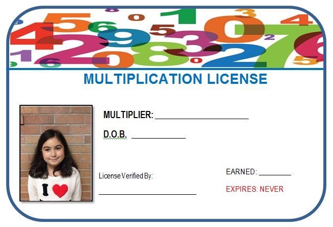 Printable, customizable multiplication license