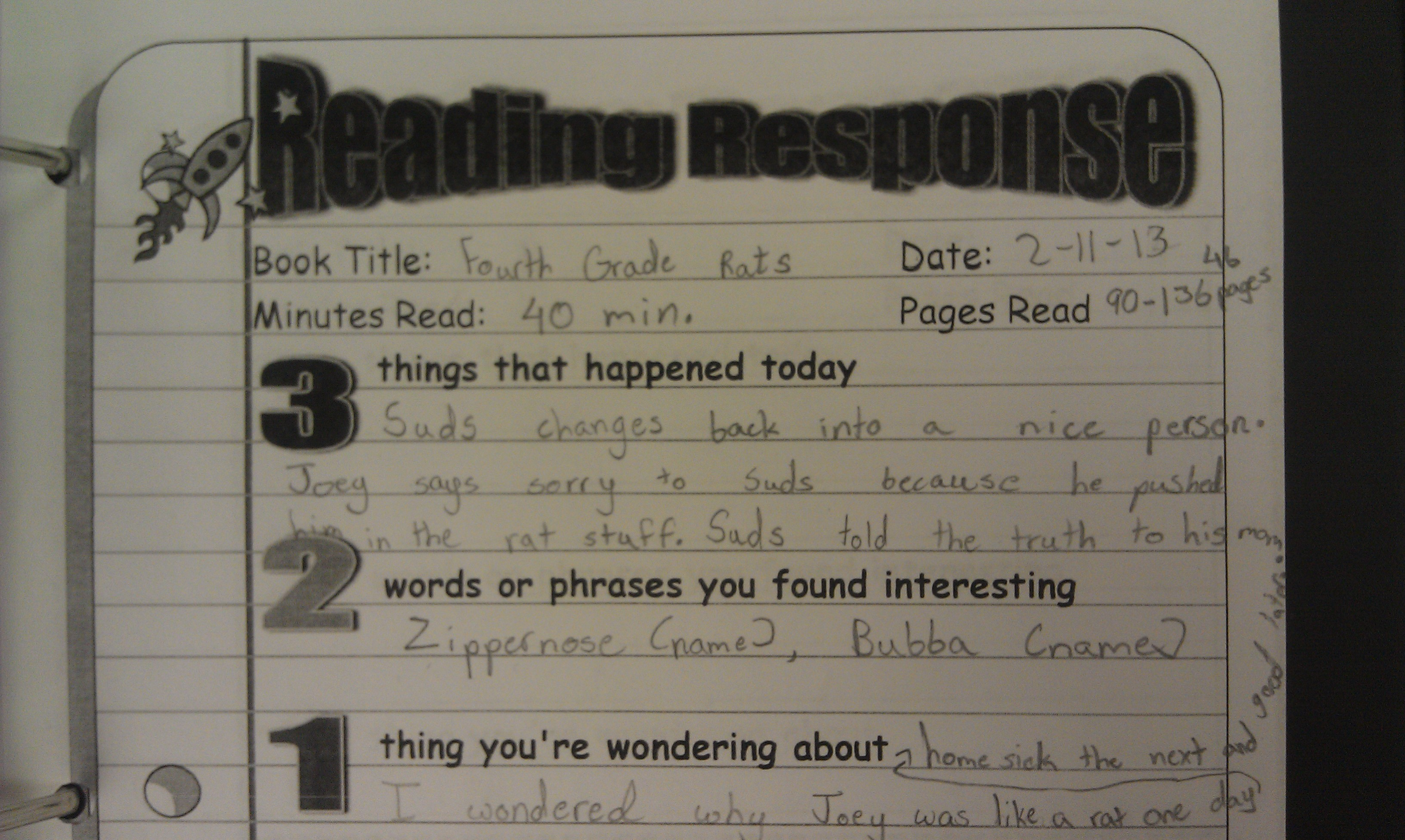 five minute reading responses  scholastic    response