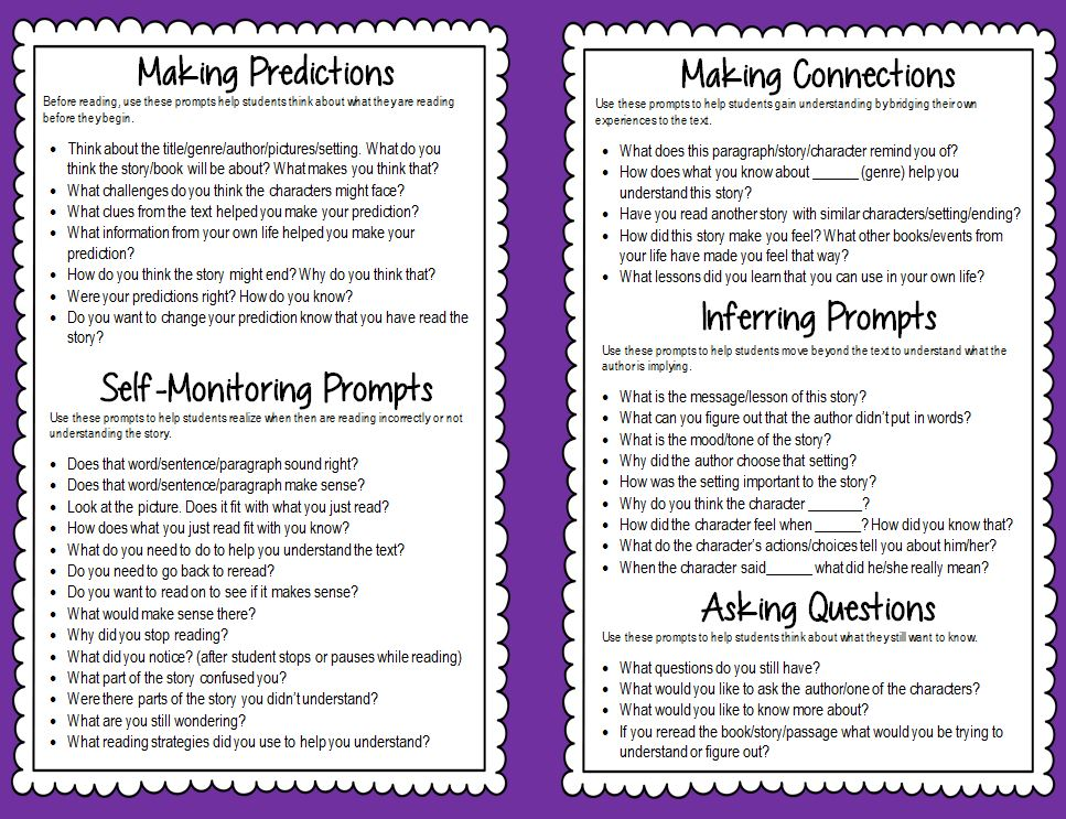 Guided Reading Prompts And Questions To Improve