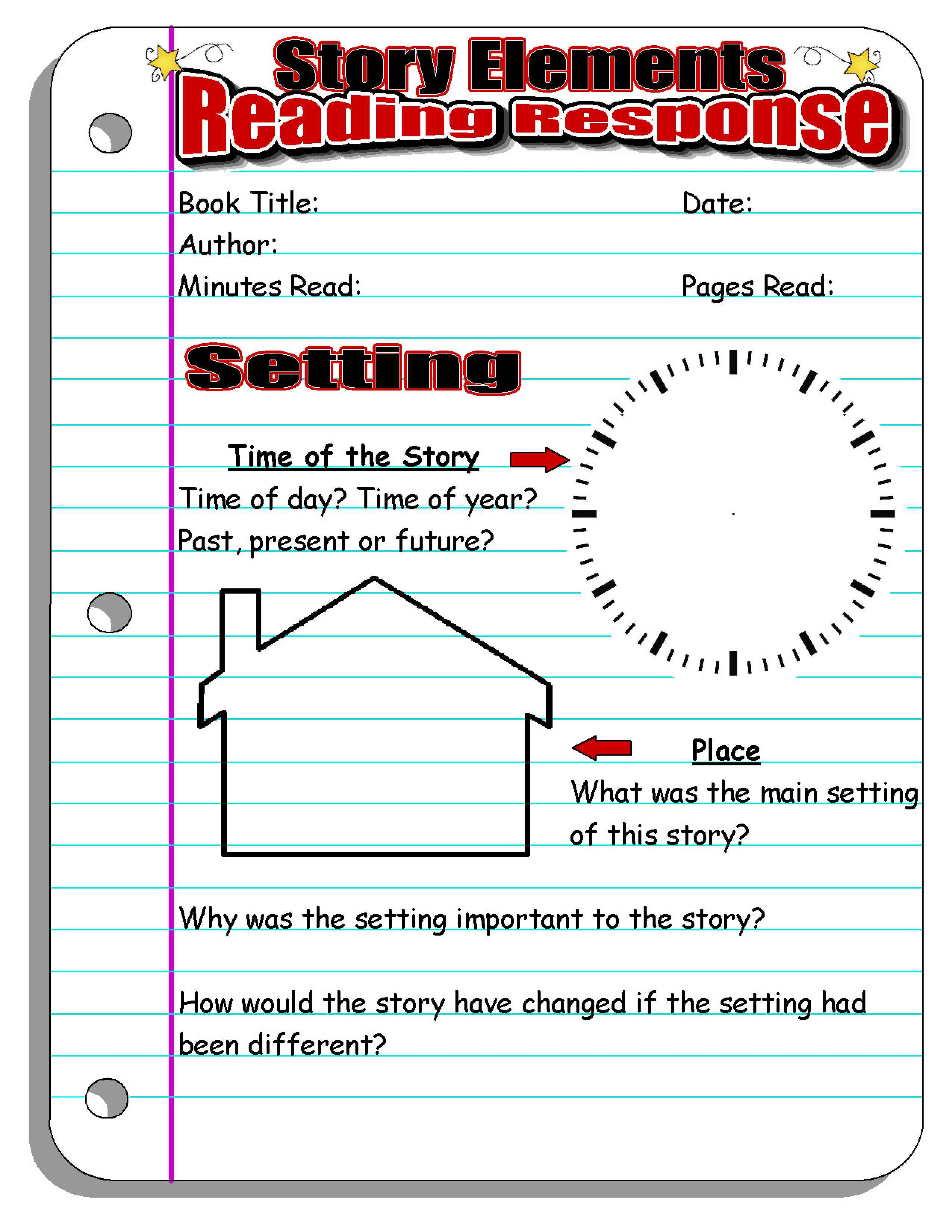 Reading Response Forms and Graphic Organizers – Setting Worksheet