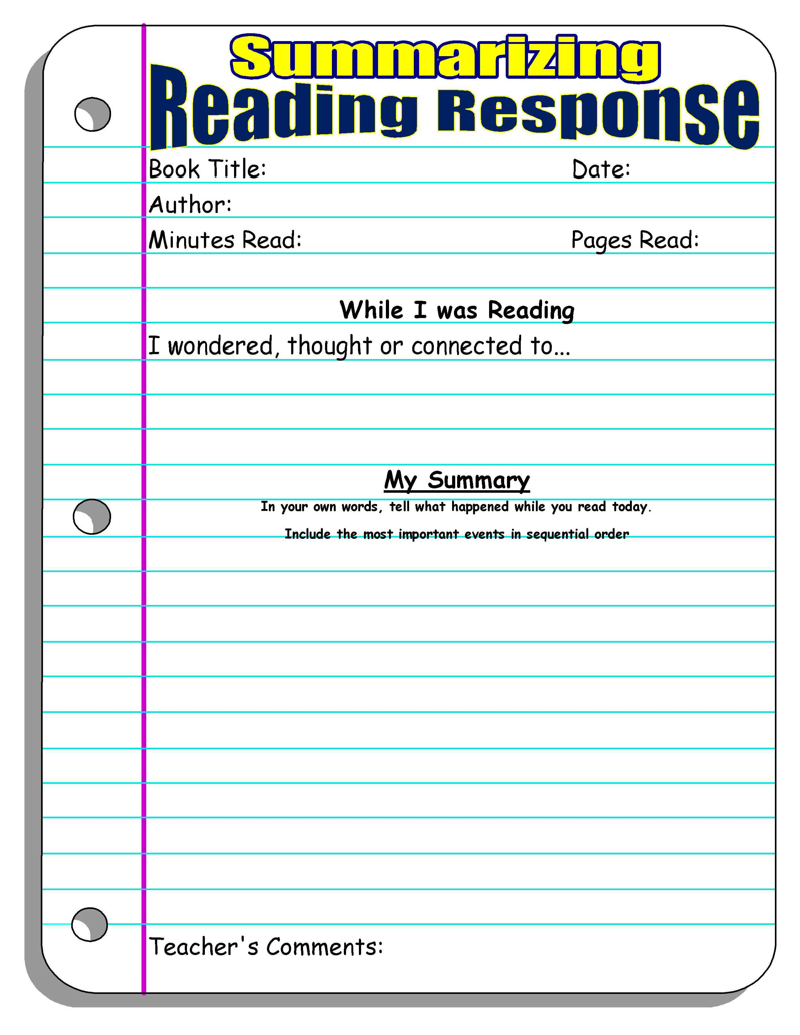 Reading Response Forms and Graphic Organizers – Summarizing Worksheets 2nd Grade
