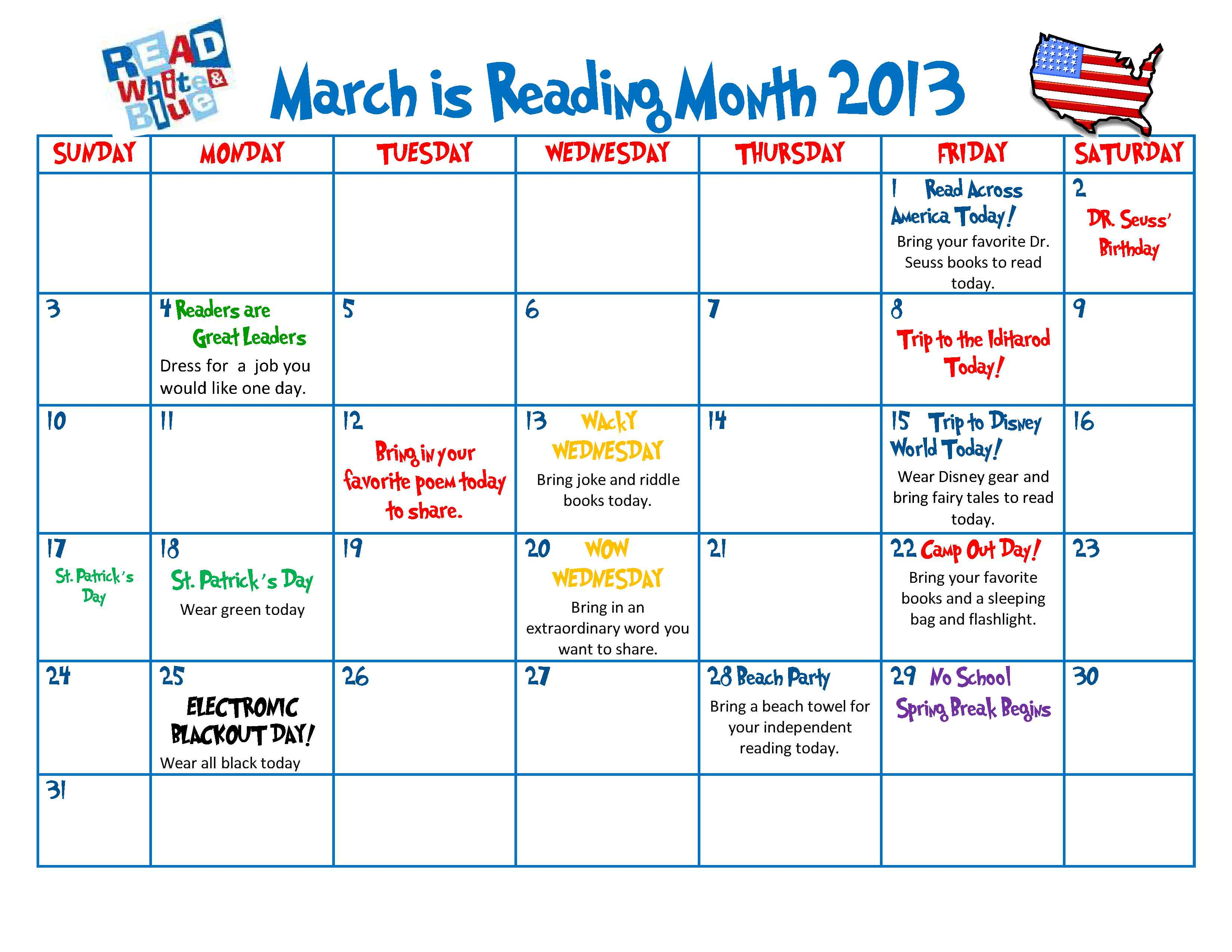 Calendar Ideas For March : Celebrate the joy of reading all month long scholastic