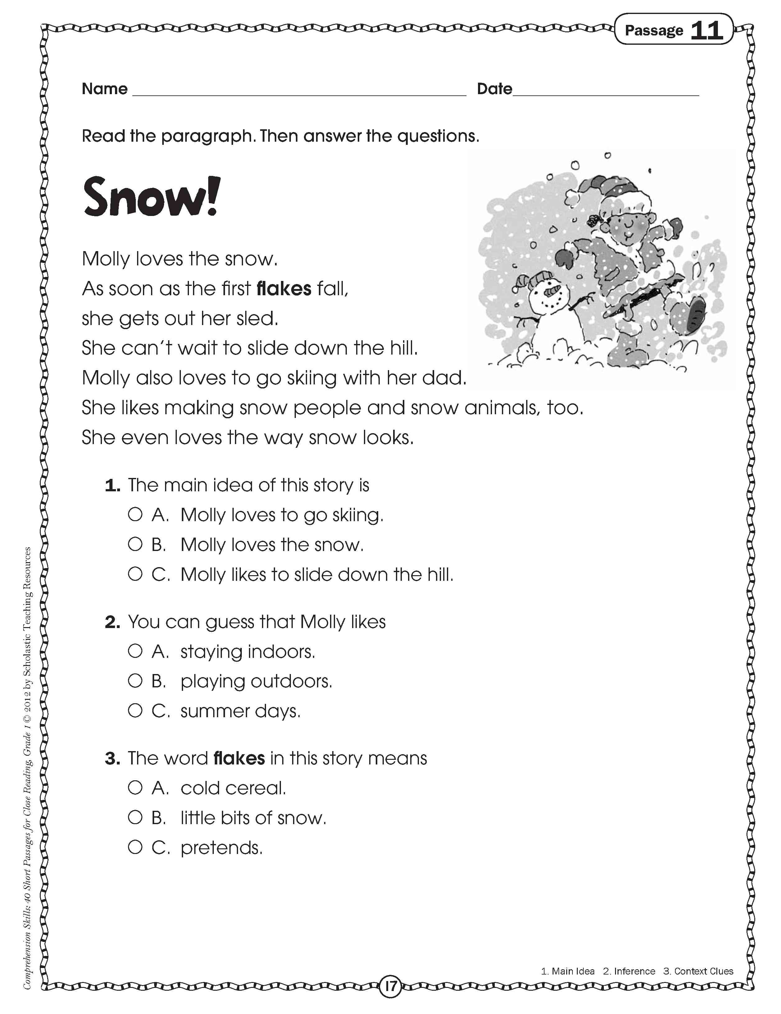 Worksheet Free Third Grade Reading get crafty with your common core reading this holiday season simile snowflake poetry close for grade one