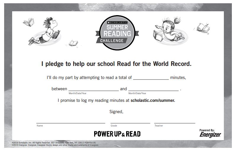 Summer reading challenge pledge