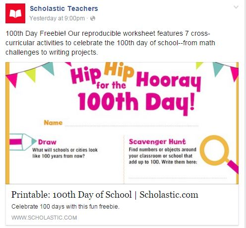 Freebies on Scholastic's Teacher Facebook page