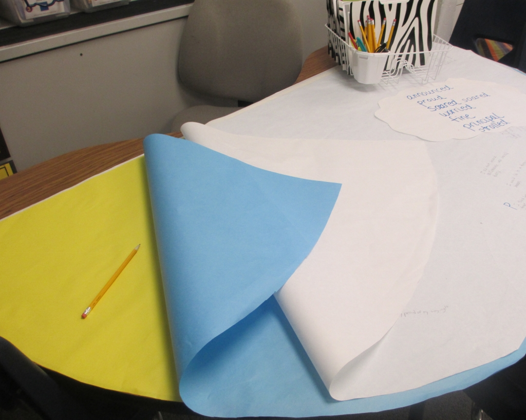 Guided reading table with paper cut outs for work