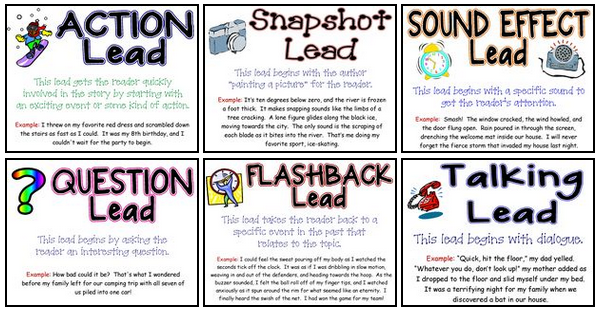 Image result for types of leads anchor chart