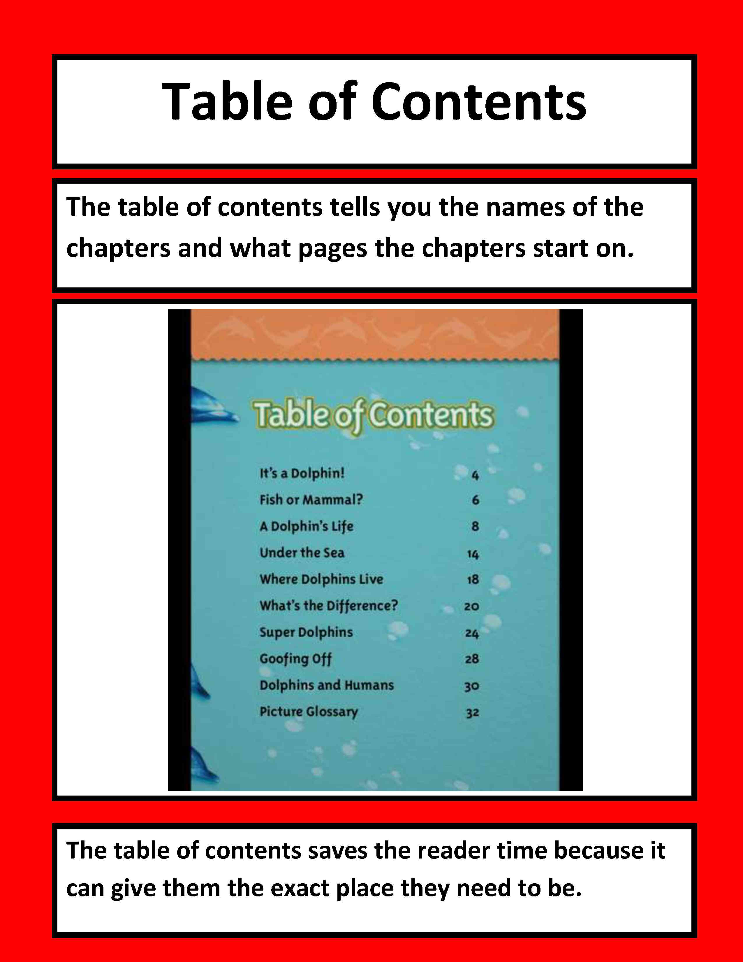 text feature table of contents